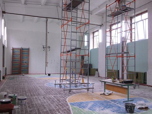 Ремонт спортзала в Искровской средней школе Рязанского района